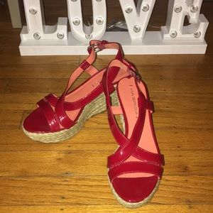 Red Patton leather wedge heels